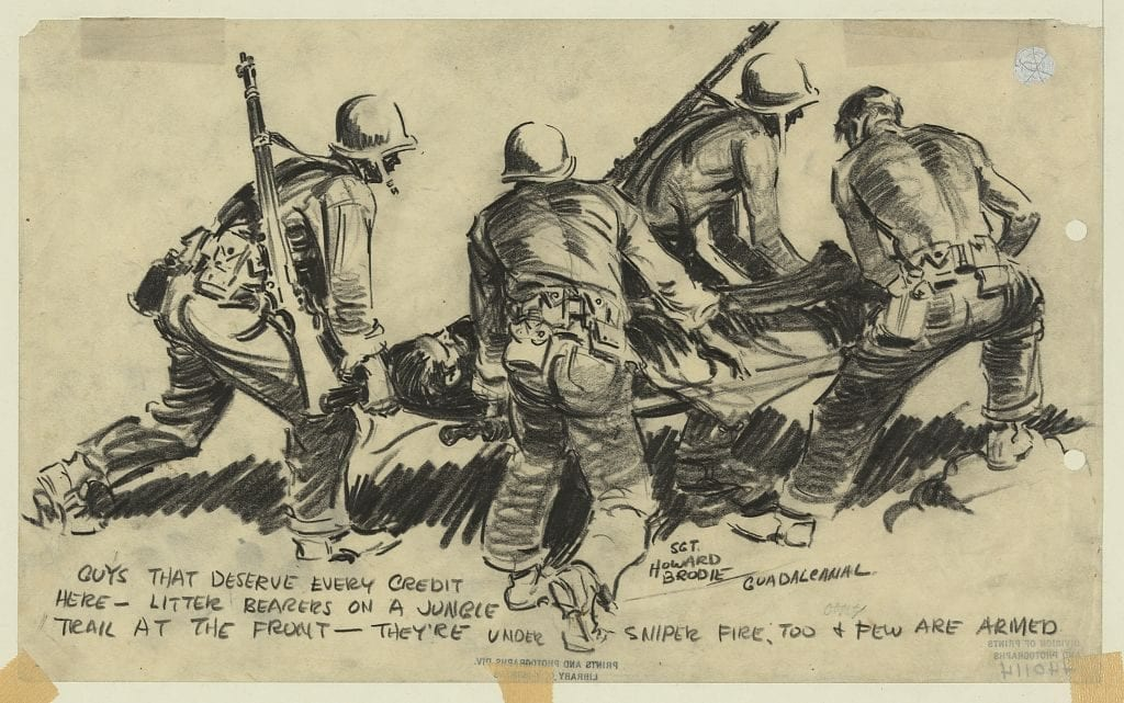 Drawing shows four soldiers carrying a wounded soldier on a litter at the front during the World War II Battle of Guadalcanal.