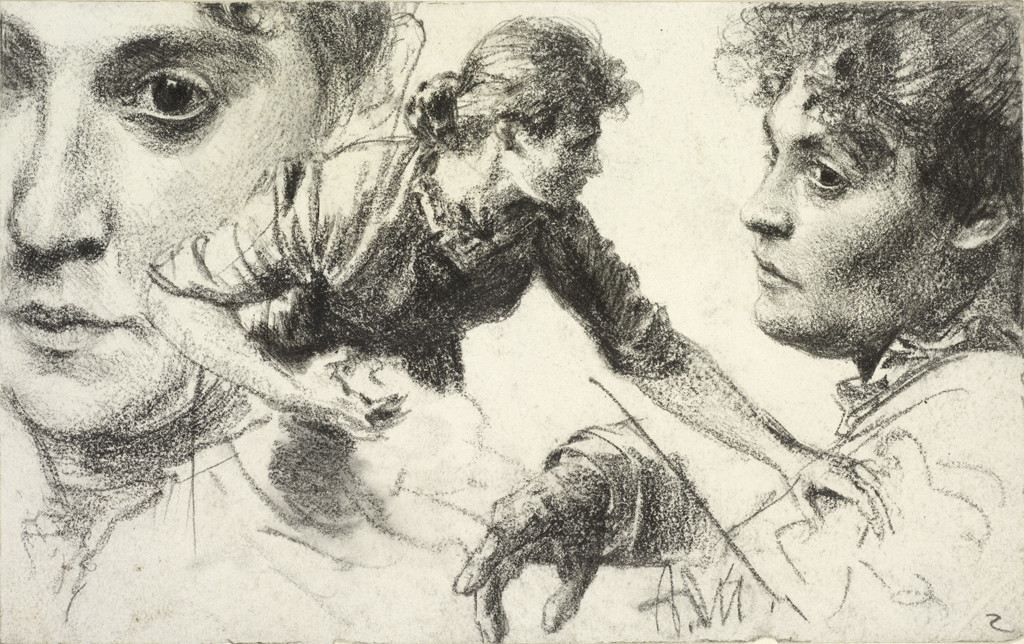 Adolph von Menzel, 1815-1905, German - Head Studies YEAR ca. 1882-1884 - Crayon on wove paper