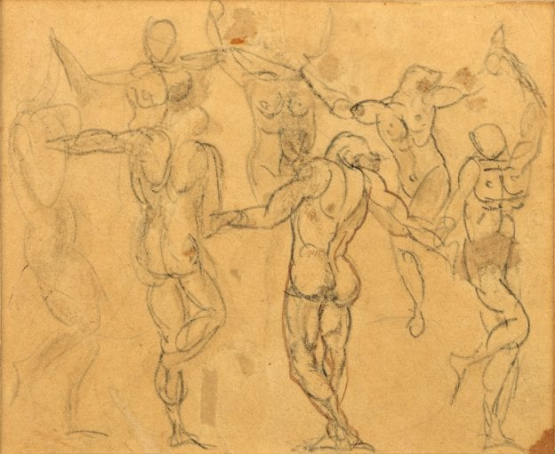 Rodin, Study of Seven Figures for La Ronde, c. 1880-1883 Pencil and pen and ink with wash on paper, 3 x 3.5 inches, sold to Musée Rodin in 2011.